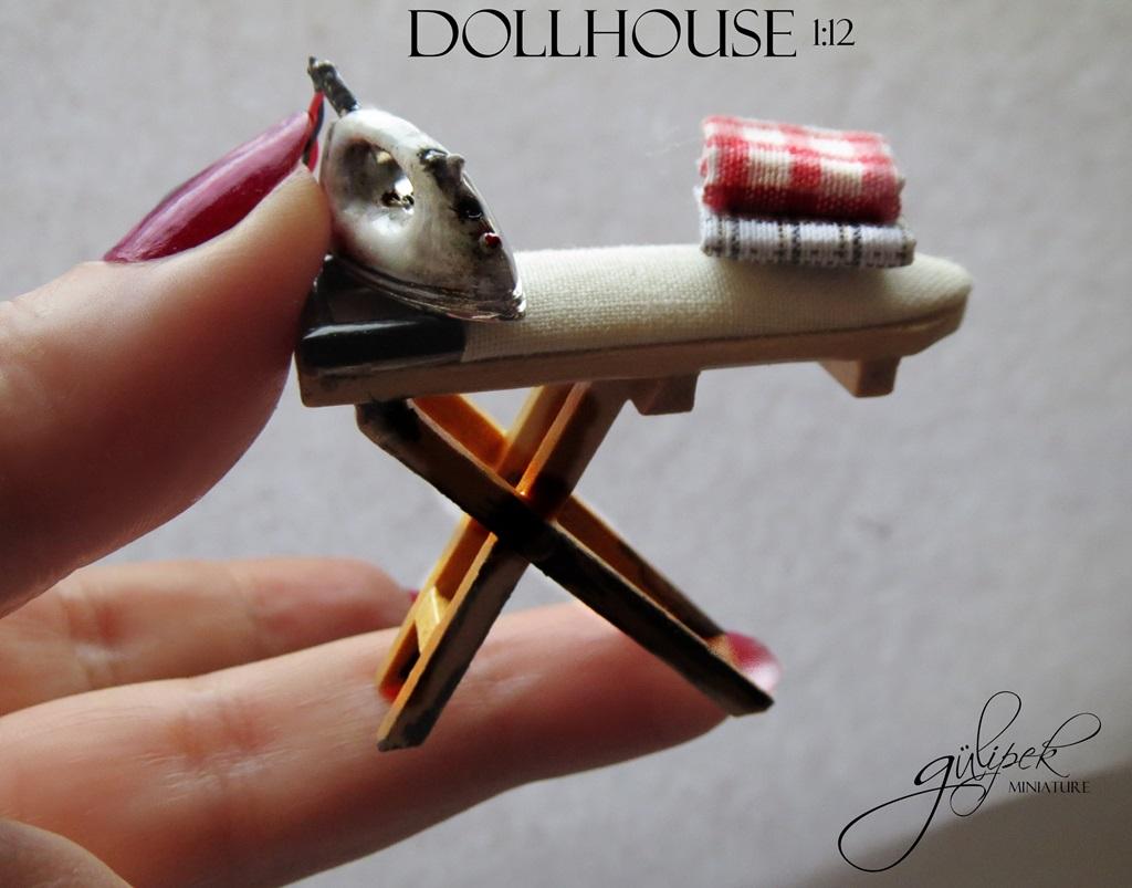 Dollhouse Miniature _Ironing Board _handmade (20)