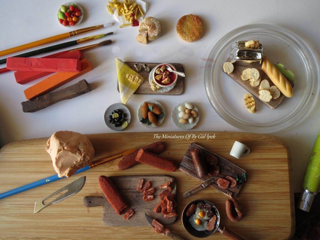 Miniature Turkish Food /pastırma ,içli köfte ,sucuk vb....Gül ipek 2017