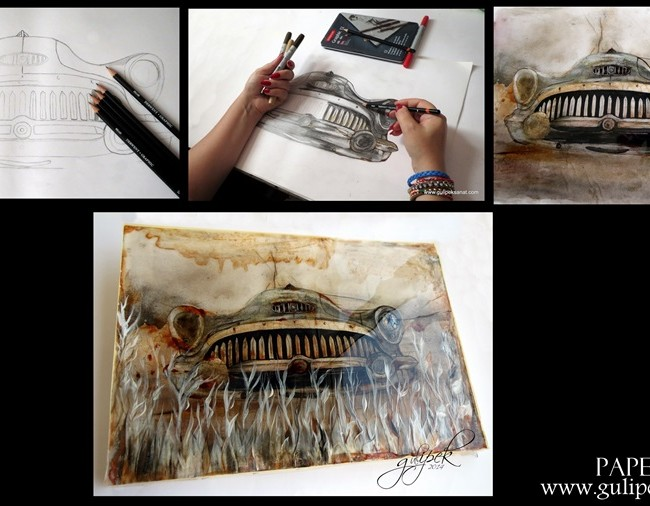 Art Resin /Drawing Car