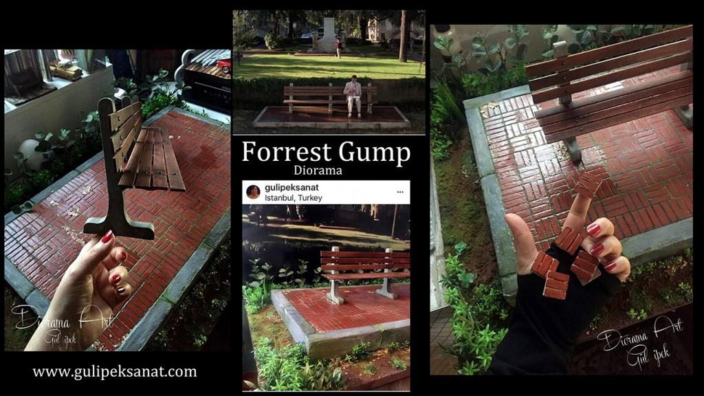 A Forrest Gump scene diorama