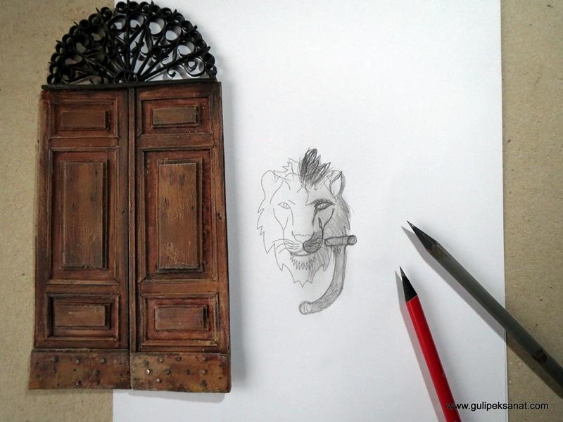 www.gulipeksanat.com Gül ipek kapı tokmağı çizim