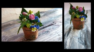 Saksı ve çiçekler el yapımı ve kağıt kullanılarak yapılmıştır .(Toprak olarak kullanılan malzeme kahve çekirdeğidir.)
