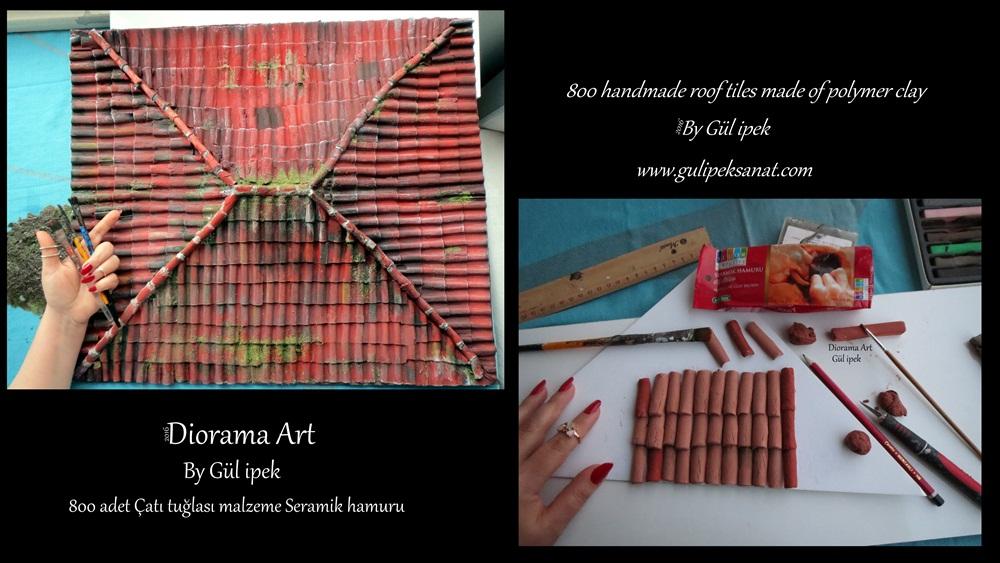 handmade roof tiles /diorama By Gül ipek www.gulipeksanat.com