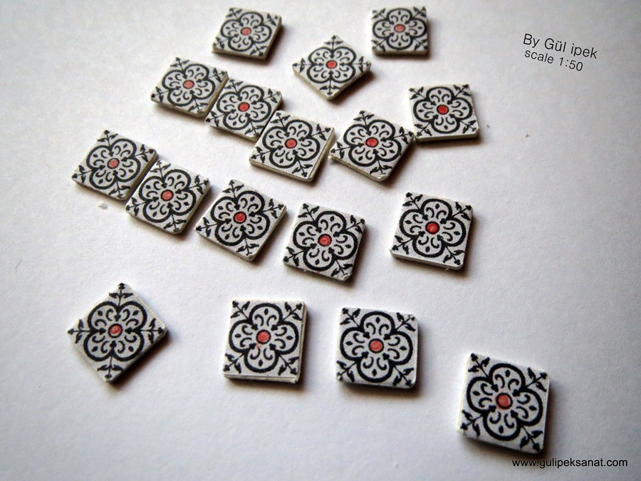Miniature Turkish Tile Scale 1.50  By Gül ipek